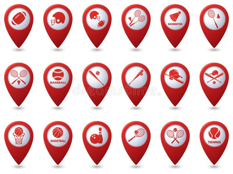 Αντισφαίριση, μπέιζ-μπώλ, εικονίδια αμερικανικού ποδοσφαίρου στους δείκτες χαρτών απεικόνιση αποθεμάτων