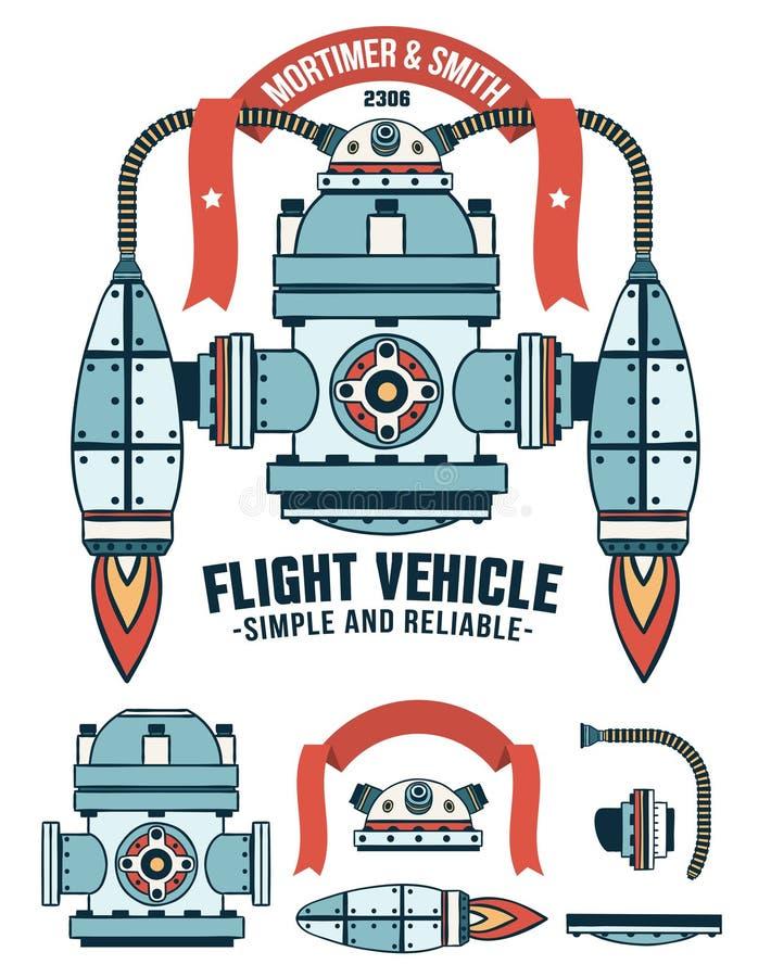 Αντιδραστική φανταστική πετώντας μηχανή απεικόνιση αποθεμάτων
