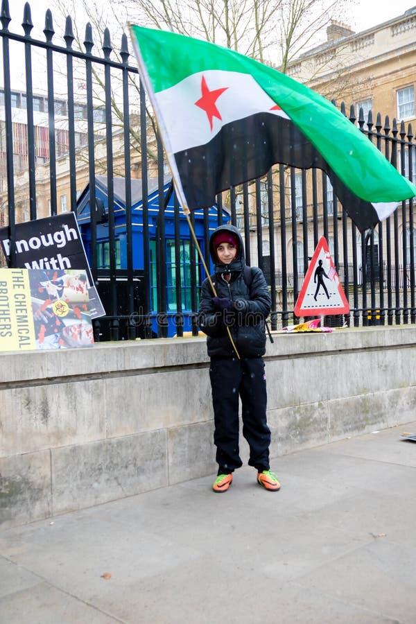 Αντι συριακοί διαμαρτυρόμενοι Μάρτιος Προέδρου Assad στο κεντρικό Λονδίνο στοκ φωτογραφίες με δικαίωμα ελεύθερης χρήσης