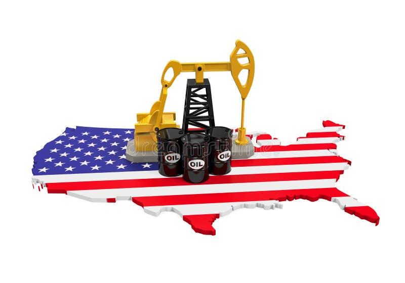 Αντλία πετρελαίου και βαρέλι πετρελαίου στον Ηνωμένο χάρτη ελεύθερη απεικόνιση δικαιώματος