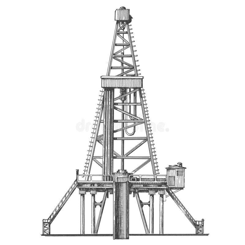 Αντλία πετρελαίου σε ένα άσπρο υπόβαθρο σκίτσο ελεύθερη απεικόνιση δικαιώματος