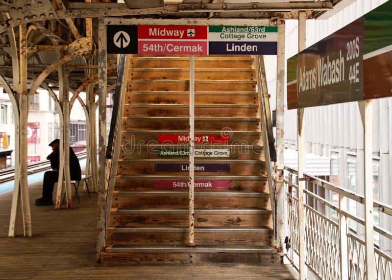 Ανυψωμένα το Σικάγο πλατφόρμα και σκαλοπάτια τραίνων EL στοκ φωτογραφίες με δικαίωμα ελεύθερης χρήσης