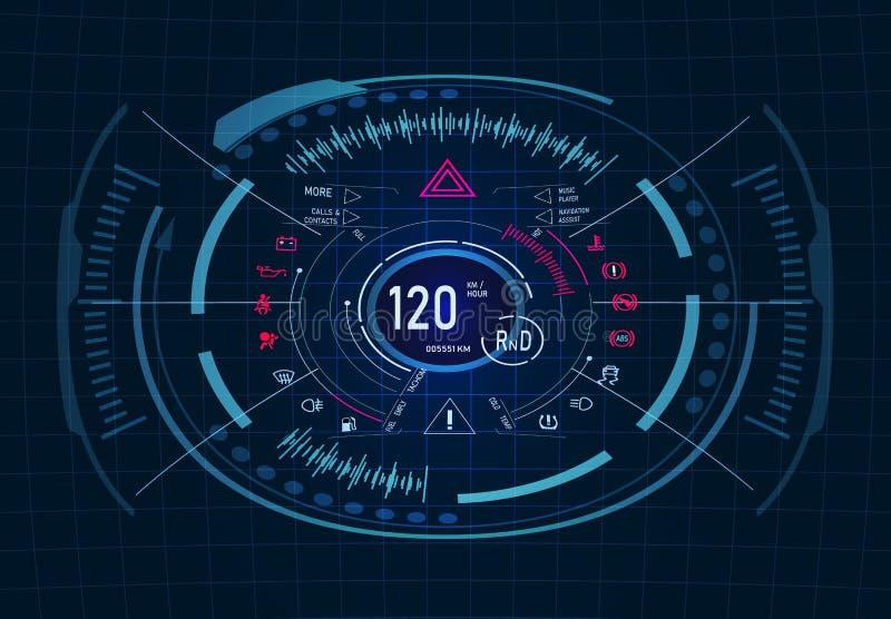 ανυψωμένη υπηρεσία αντικατάστασης πετρελαίου αυτοκινήτων κύπελλων ανελκυστήρας Φουτουριστικό σχέδιο ταμπλό Ταχύμετρο, ταχύμετρο g διανυσματική απεικόνιση