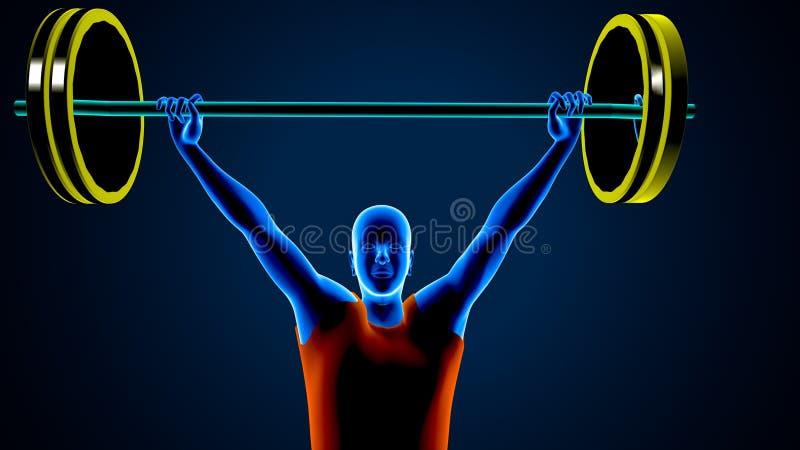 Ανυψωτής βάρους σε ένα μπλε υπόβαθρο r στοκ εικόνα με δικαίωμα ελεύθερης χρήσης