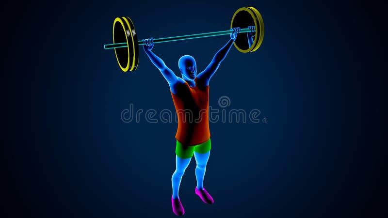 Ανυψωτής βάρους σε ένα μπλε υπόβαθρο r στοκ εικόνες