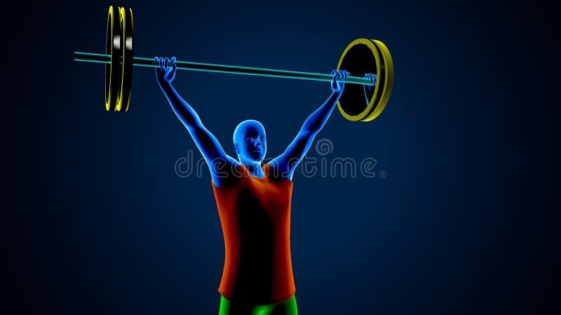 Ανυψωτής βάρους σε ένα μπλε υπόβαθρο r στοκ εικόνες με δικαίωμα ελεύθερης χρήσης