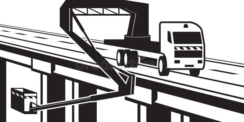 Ανυψωτικά μηχανήματα στη γέφυρα της εθνικής οδού απεικόνιση αποθεμάτων