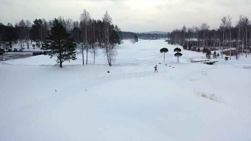 Ανώμαλοι κάνοντας σκι αθλητές το χειμώνα footage Τοπ άποψη των επαγγελματικών αθλητών σκι που εκπαιδεύουν στο ανώμαλο σκι στοκ φωτογραφία με δικαίωμα ελεύθερης χρήσης