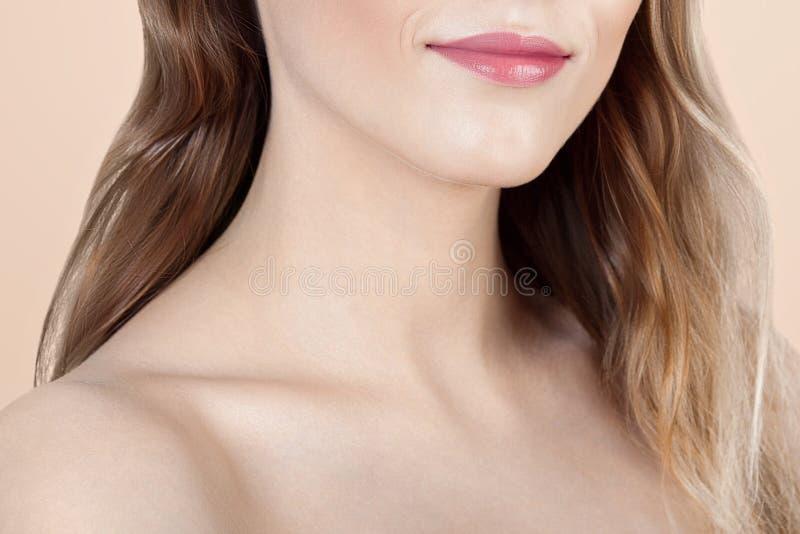 Ανώνυμο πορτρέτο της νέας όμορφης γυναίκας με το καθαρό τέλειο s στοκ εικόνες με δικαίωμα ελεύθερης χρήσης