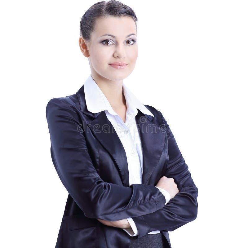 ανώτατο στέλεχος επιχείρησης ανασκόπησης που απομονώνεται πέρα από τη λευκή γυναίκα Απομονωμένος στο λευκό στοκ εικόνα με δικαίωμα ελεύθερης χρήσης