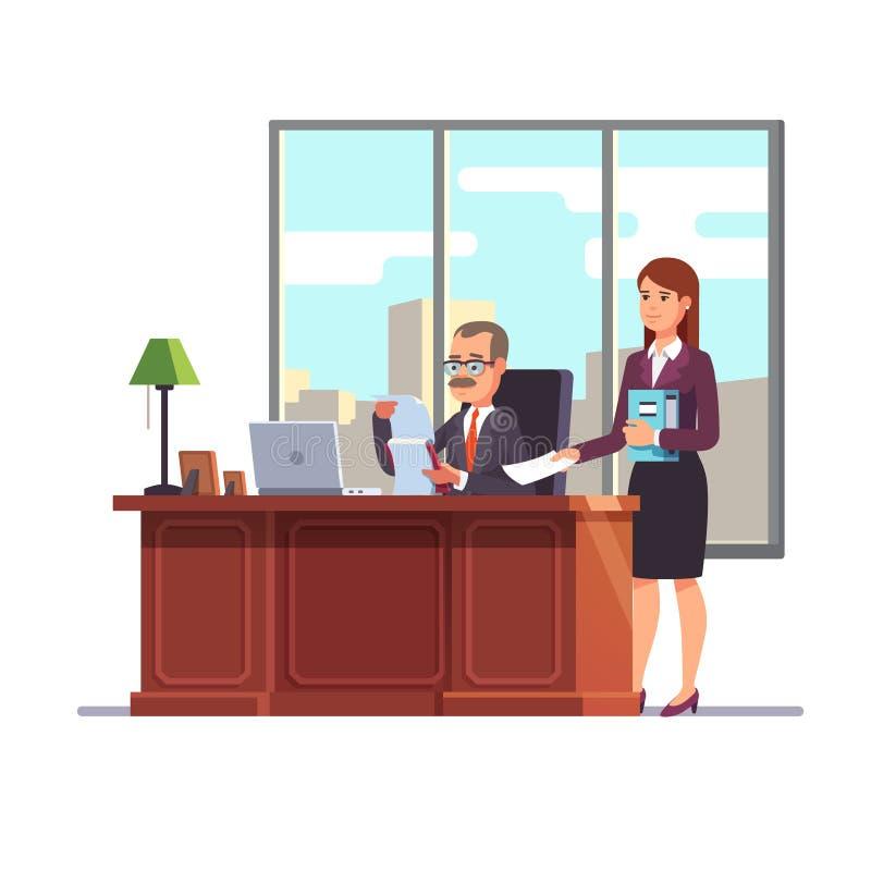 Ανώτατο στέλεχος επιχείρησης με έναν γραμματέα στο γραφείο του ελεύθερη απεικόνιση δικαιώματος