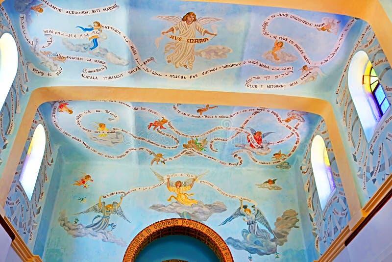 Ανώτατο όριο και ζωγραφική στρέμμα-σοφιτών στην εκκλησία στο μοναστήρι Dir Rafat Regina Palestina στοκ εικόνα