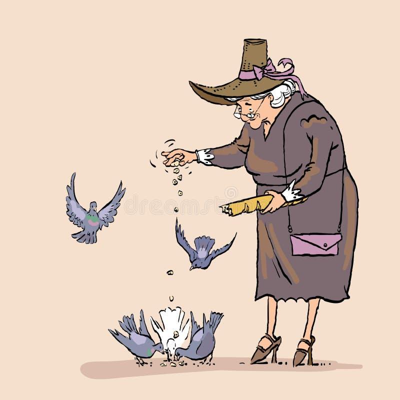 Ανώτερα ταΐζοντας πουλιά γυναικών, καθημερινή δραστηριότητα ηλικιωμένων κυριών Η γιαγιά ταΐζει τα περιστέρια στοκ φωτογραφίες με δικαίωμα ελεύθερης χρήσης