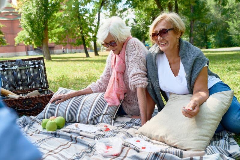 Ανώτερες γυναίκες που απολαμβάνουν το πικ-νίκ στο πάρκο στοκ εικόνες με δικαίωμα ελεύθερης χρήσης