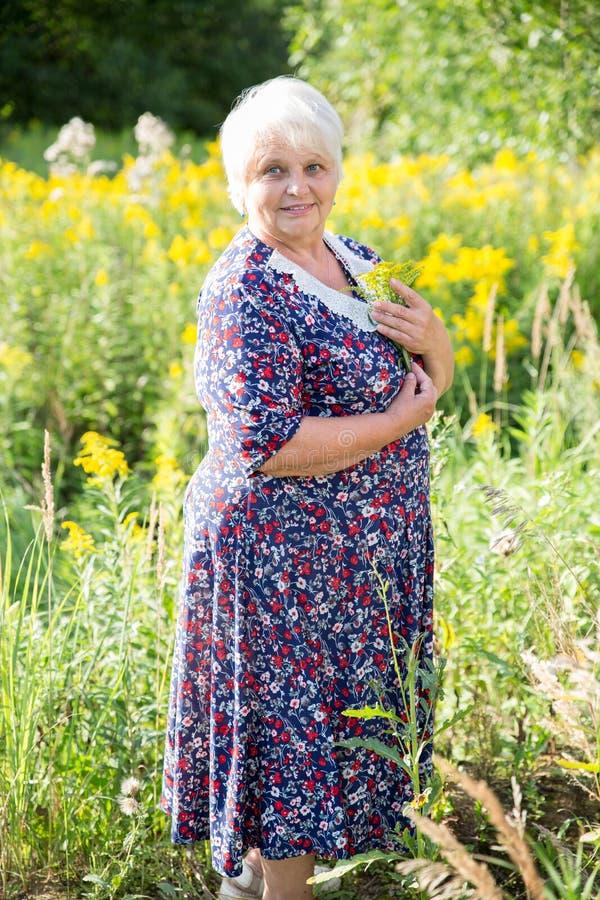 Ανώτερη γιαγιά υπαίθρια στοκ εικόνες