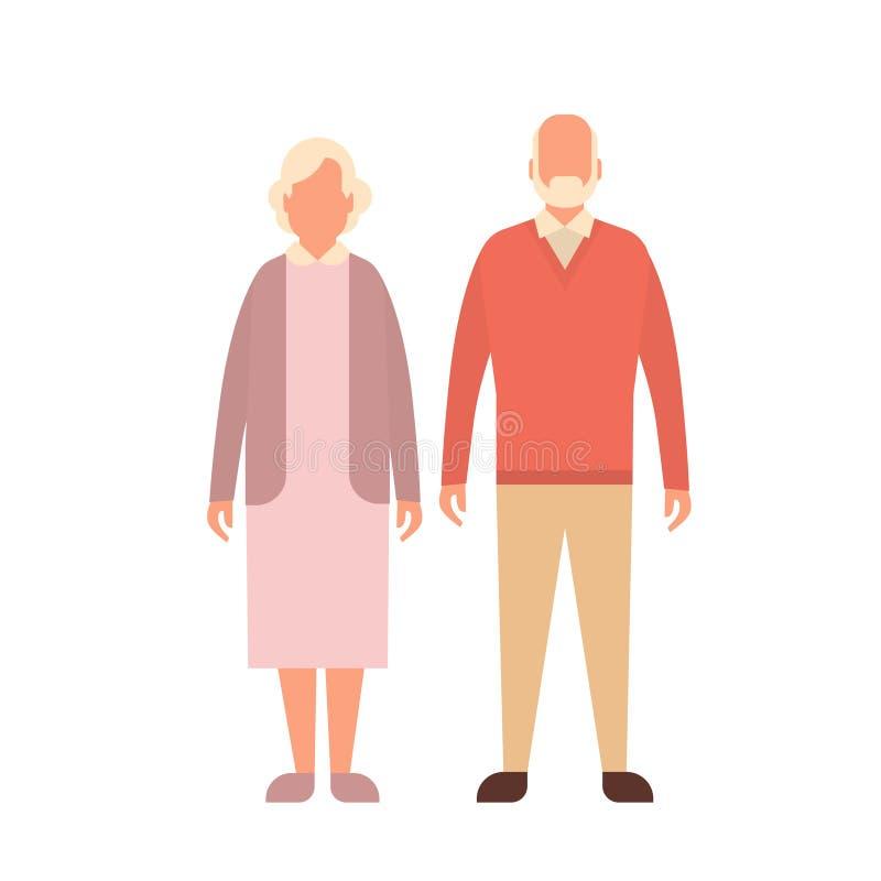 Ανώτερη γυναίκα ανδρών, πλήρες μήκος γιαγιάδων παππούδων ζεύγους διανυσματική απεικόνιση