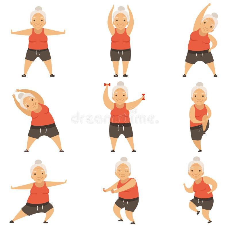 Ανώτερη γυναίκα που κάνει τις ασκήσεις πρωινού, τον ενεργό και υγιή τρόπο ζωής της διανυσματικής απεικόνισης συνταξιούχων σε ένα  διανυσματική απεικόνιση