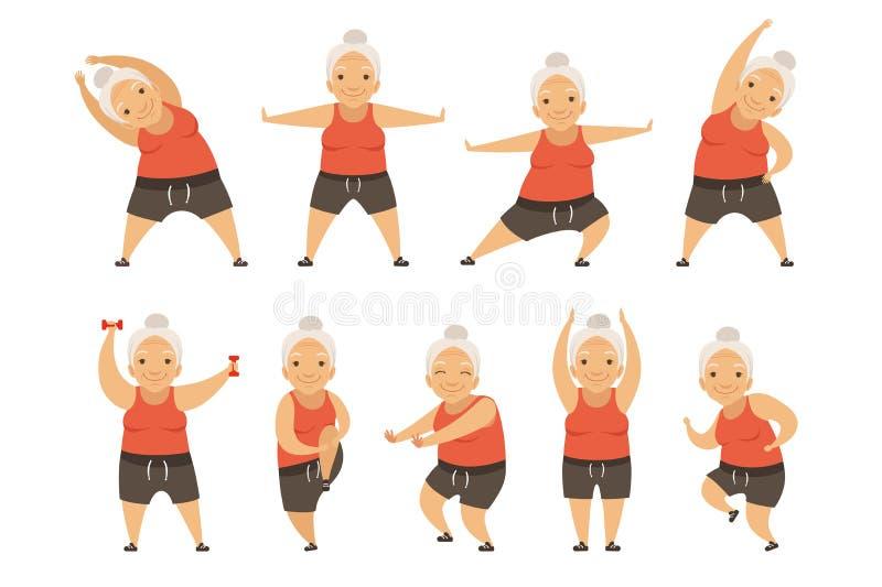 Ανώτερη γυναίκα που κάνει τις ασκήσεις πρωινού, τον ενεργό και υγιή τρόπο ζωής της διανυσματικής απεικόνισης συνταξιούχων σε ένα  απεικόνιση αποθεμάτων