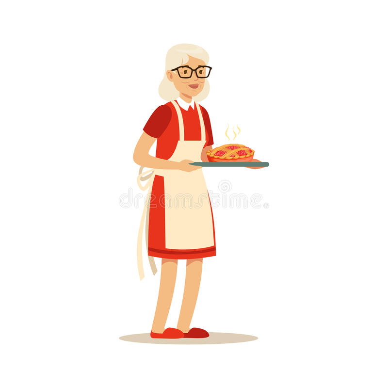 Ανώτερη γυναίκα που στέκεται και που κρατά έναν δίσκο με τη φρέσκια ψημένη διανυσματική απεικόνιση χαρακτήρα πιτών ζωηρόχρωμη ελεύθερη απεικόνιση δικαιώματος