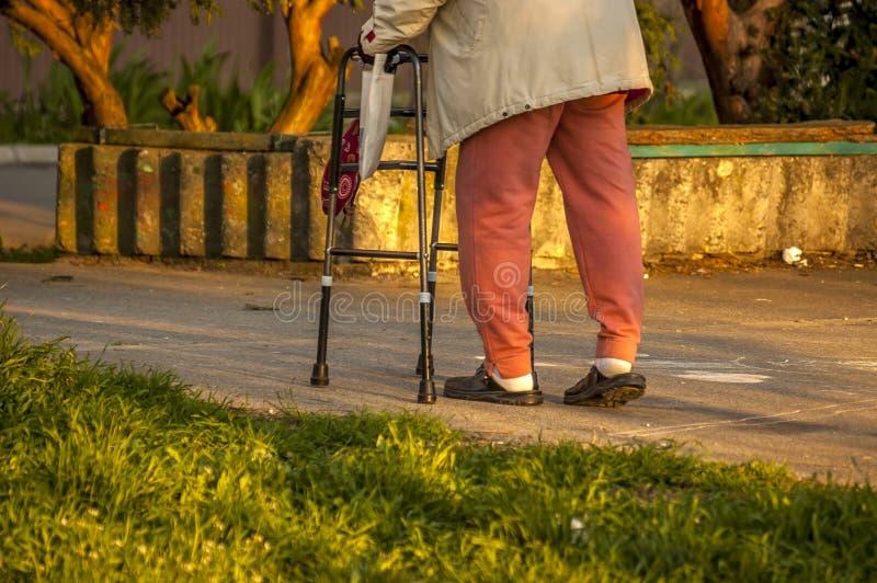 Ανώτερη γυναίκα που χρησιμοποιεί έναν περιπατητή στοκ φωτογραφία