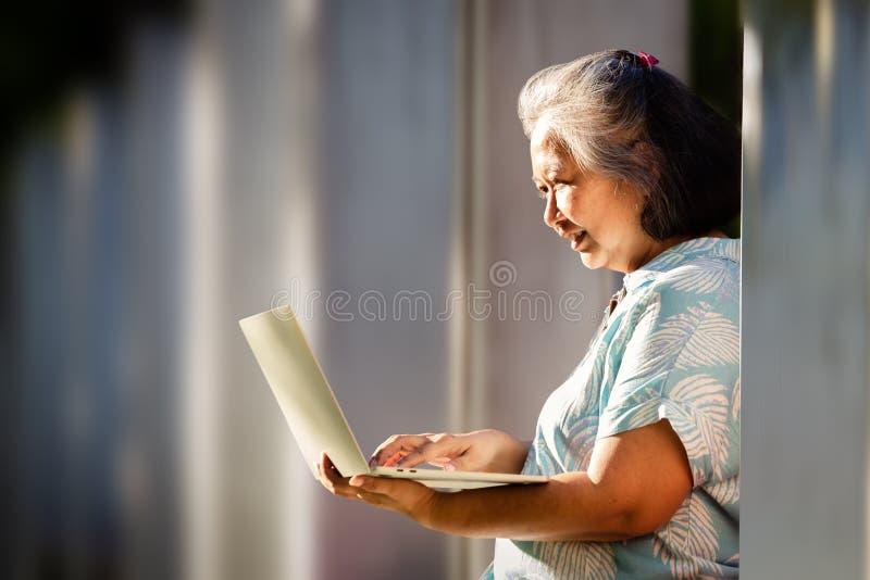 Ανώτερη γυναίκα που χρησιμοποιεί φορητό υπολογιστή στο πάρκο στοκ φωτογραφία