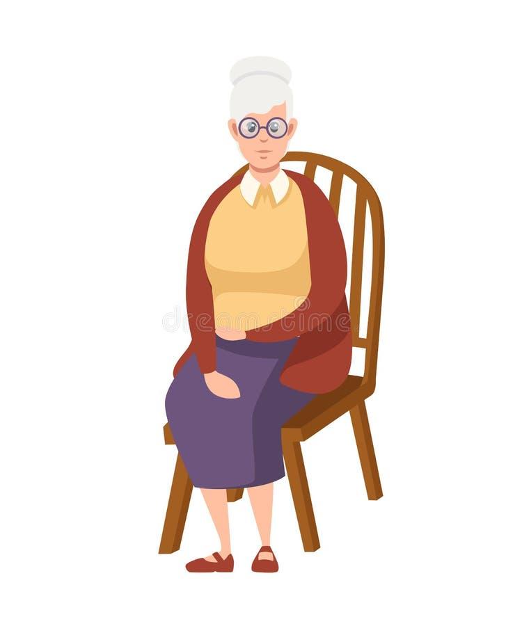 Ανώτερη γυναίκα στα περιστασιακά ενδύματα Η γιαγιά κάθεται στην ξύλινη καρέκλα Σχέδιο χαρακτήρα κινουμένων σχεδίων Επίπεδη διανυσ απεικόνιση αποθεμάτων
