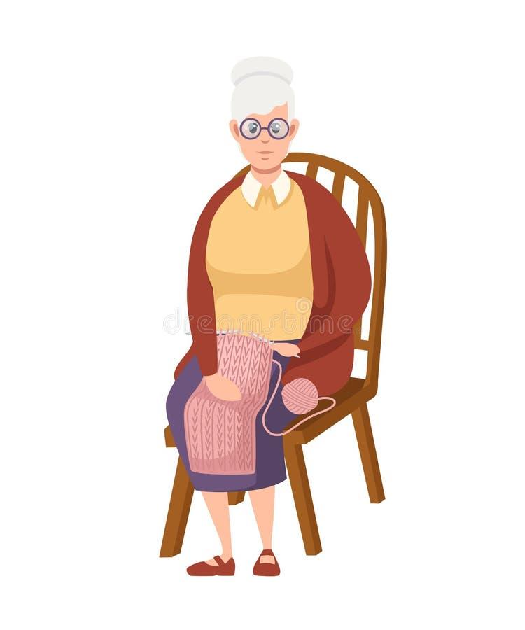 Ανώτερη γυναίκα στα περιστασιακά ενδύματα Η γιαγιά κάθεται στην ξύλινη καρέκλα και πλέκει Σχέδιο χαρακτήρα κινουμένων σχεδίων r ελεύθερη απεικόνιση δικαιώματος