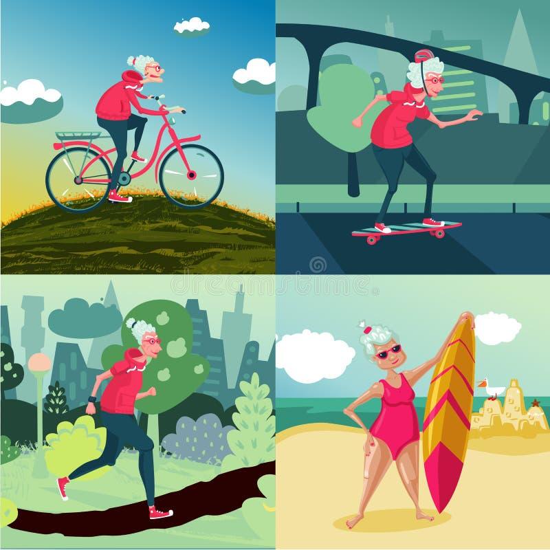 Ανώτερη ενήλικη υπαίθρια αθλητική δραστηριότητα γυναικών Workout στη φύση Θηλυκή κατάρτιση στην αποχώρηση Υγιής τρόπος ζωής απεικόνιση αποθεμάτων