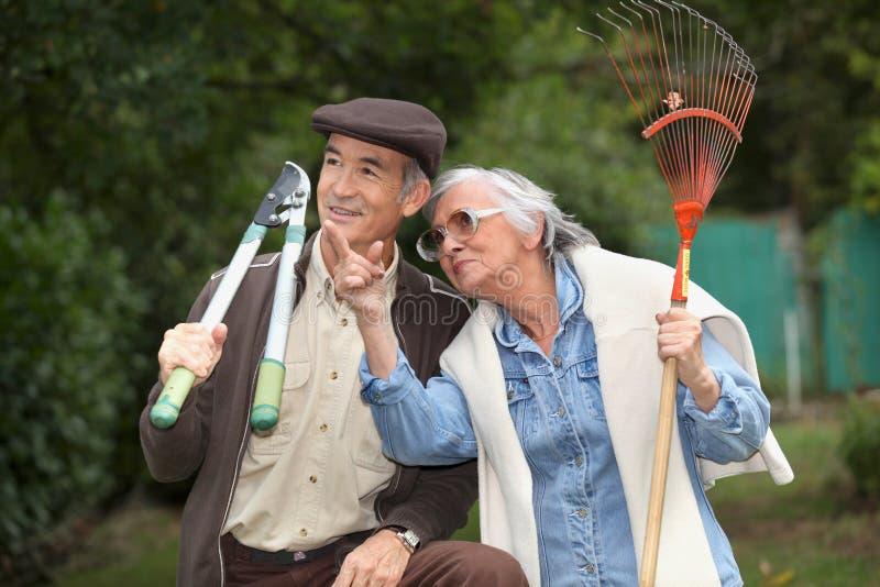 Ανώτερη κηπουρική ζευγών στοκ φωτογραφία με δικαίωμα ελεύθερης χρήσης