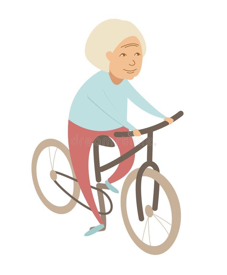 Ανώτερη κυρία γιαγιάδων ηλικιωμένων γυναικών που οδηγά ένα ποδήλατο Επίπεδο ύφος ελεύθερη απεικόνιση δικαιώματος