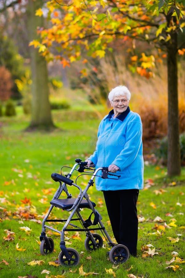 Ανώτερη κυρία με έναν περιπατητή στο πάρκο φθινοπώρου στοκ εικόνα