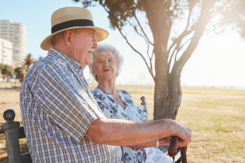 Ανώτερη συνεδρίαση ζεύγους στο πάρκο στοκ εικόνες