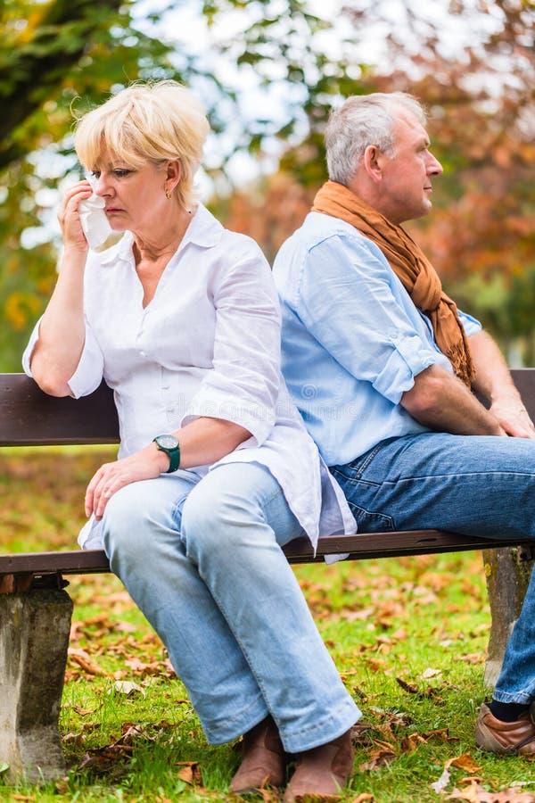 Ανώτεροι άνδρας και γυναίκα που έχουν το επιχείρημα στοκ φωτογραφίες