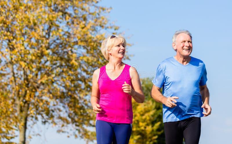 Ανώτεροι γυναίκα και άνδρας που τρέχουν κάνοντας τις ασκήσεις ικανότητας στοκ φωτογραφία με δικαίωμα ελεύθερης χρήσης
