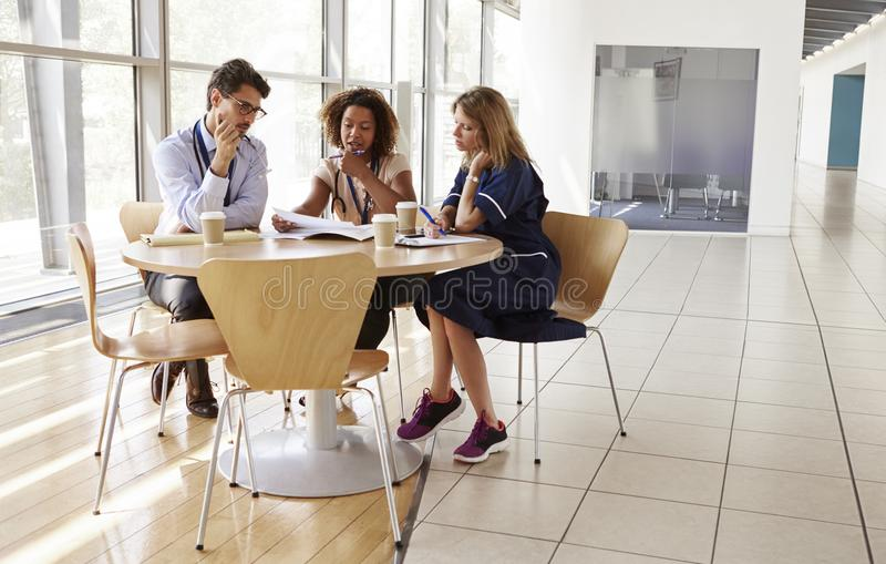 Ανώτεροι εργαζόμενοι υγειονομικής περίθαλψης σε ραντεβού σε μια αίθουσα συνεδριάσεων στοκ εικόνα με δικαίωμα ελεύθερης χρήσης