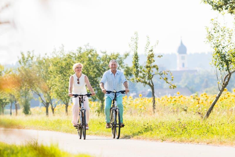 Ανώτεροι ζεύγος, γυναίκα και άνδρας, που οδηγούν τα ποδήλατά τους στοκ φωτογραφίες