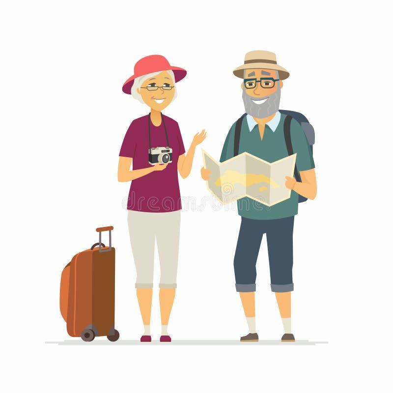 Ανώτεροι τουρίστες - απομονωμένη χαρακτήρας απεικόνιση ανθρώπων κινούμενων σχεδίων διανυσματική απεικόνιση