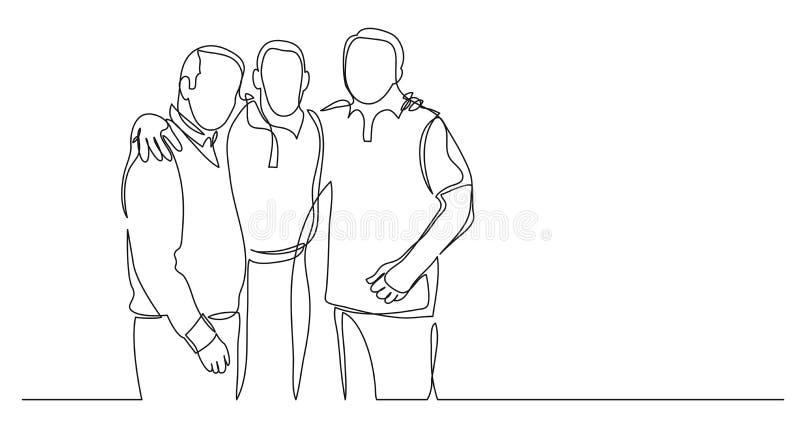 Ανώτεροι φίλοι που στέκονται μαζί ως ομάδα - ένα σχέδιο γραμμών απεικόνιση αποθεμάτων