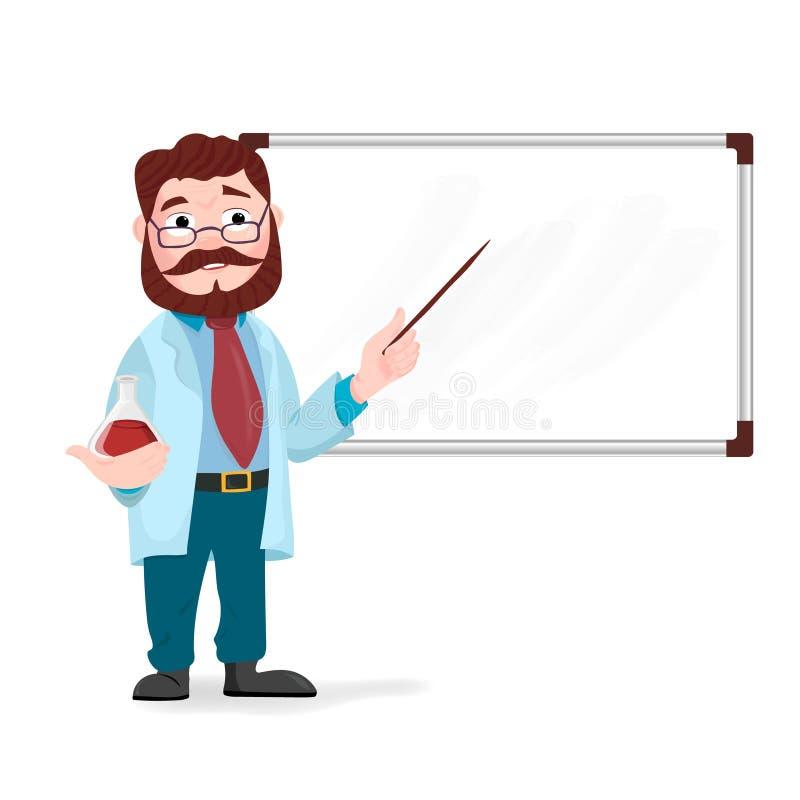 Ανώτερος δάσκαλος επιστημών, καθηγητής επιστημόνων που στέκεται μπροστά από τη διδασκαλία πινάκων διανυσματική απεικόνιση
