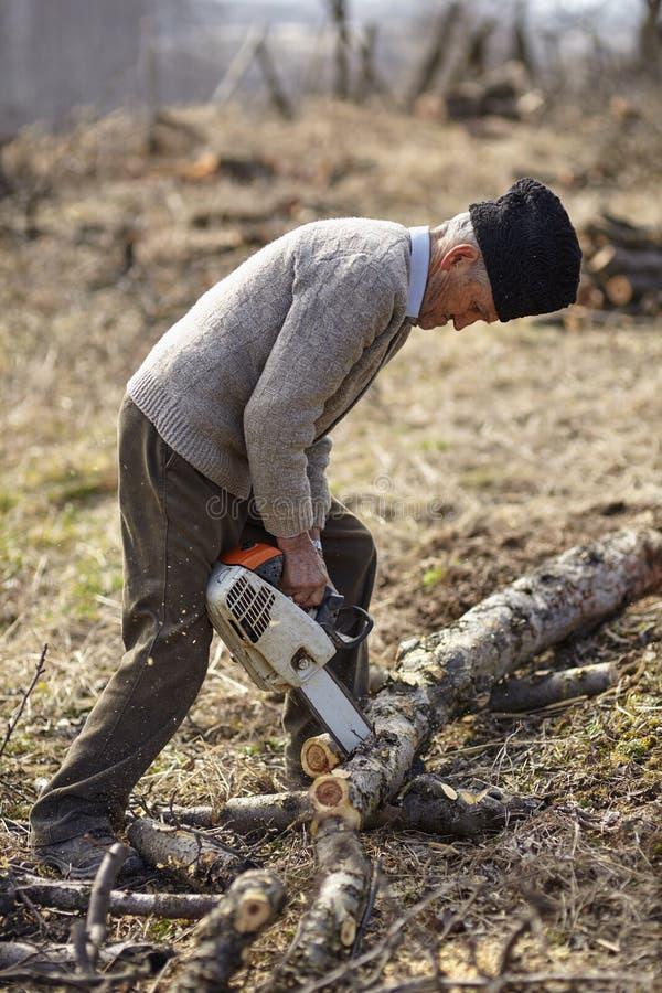 Ανώτερος αγρότης που τεμαχίζει ένα δέντρο στοκ φωτογραφίες με δικαίωμα ελεύθερης χρήσης