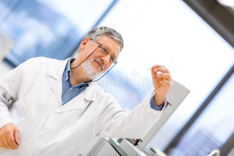 Ανώτερος αρσενικός ερευνητής που πραγματοποιεί τη επιστημονική έρευνα σε ένα εργαστήριο στοκ εικόνα