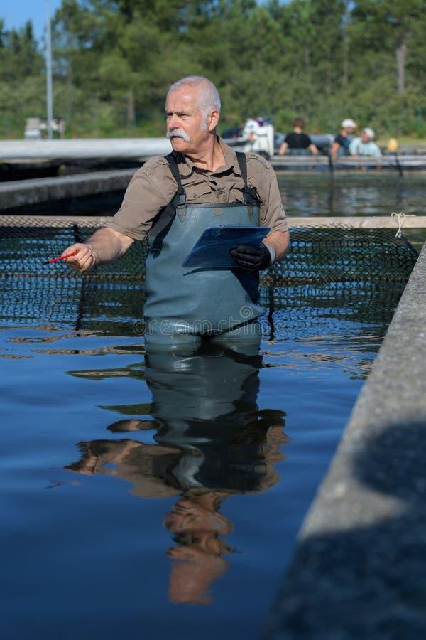 Ανώτερος κτηνιατρικός στο αγρόκτημα ψαριών στοκ φωτογραφία με δικαίωμα ελεύθερης χρήσης