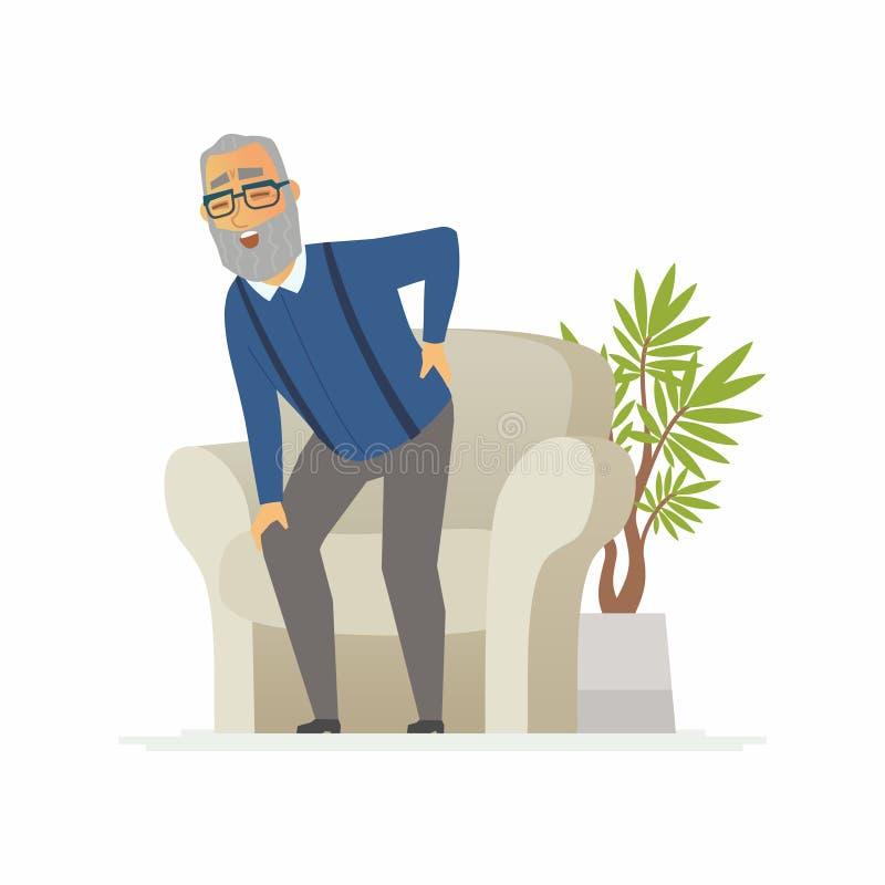 Ανώτερο άτομο με έναν πόνο στην πλάτη - απομονωμένη χαρακτήρες απεικόνιση ανθρώπων κινούμενων σχεδίων διανυσματική απεικόνιση