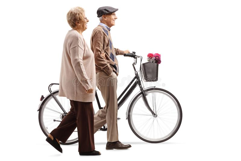 Ανώτερο ζεύγος που περπατά με ένα ποδήλατο στοκ εικόνα με δικαίωμα ελεύθερης χρήσης