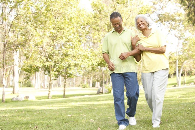 Ανώτερο ζεύγος που περπατά στο πάρκο στοκ φωτογραφία