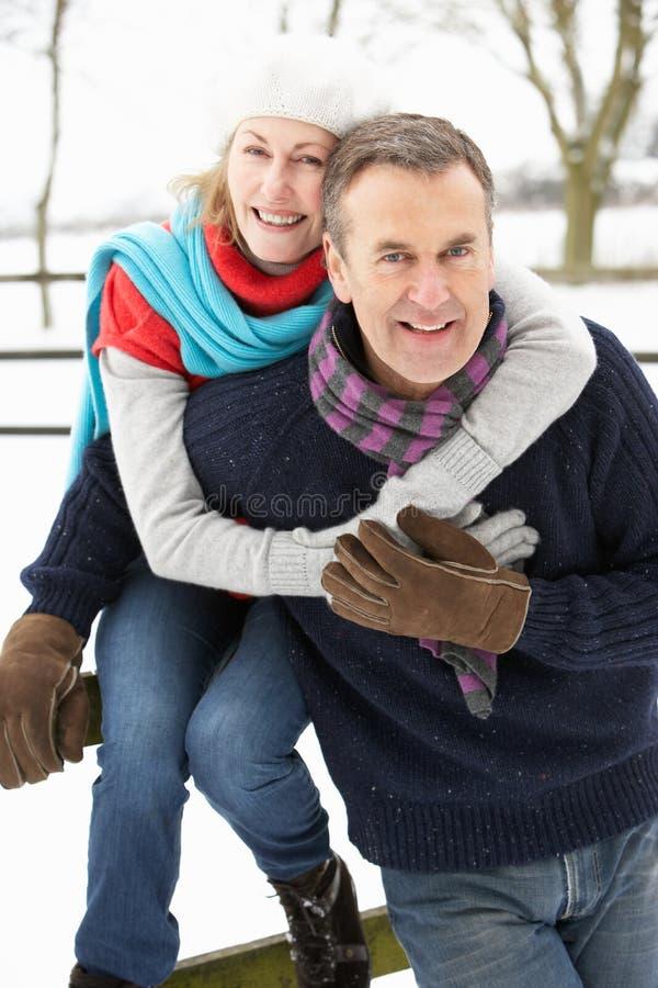Ανώτερο ζεύγος που στέκεται έξω στο χιονώδες τοπίο στοκ εικόνα με δικαίωμα ελεύθερης χρήσης