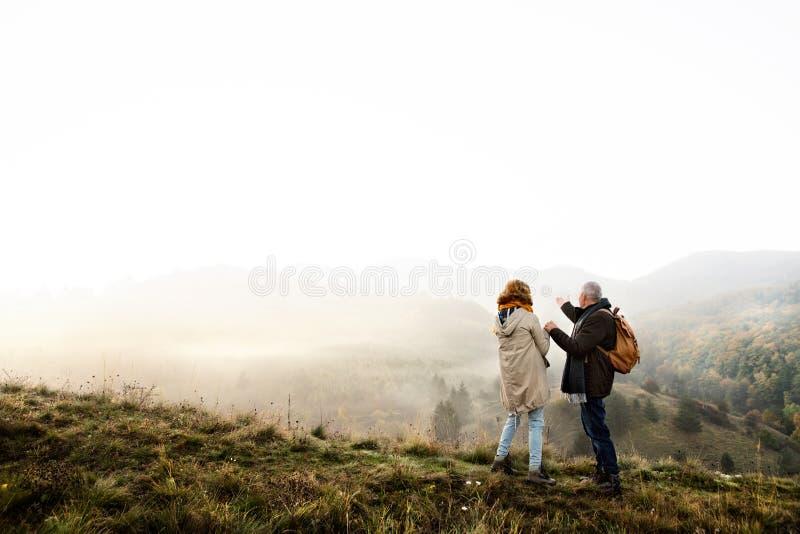 Ανώτερο ζεύγος σε έναν περίπατο σε μια φύση φθινοπώρου στοκ φωτογραφίες