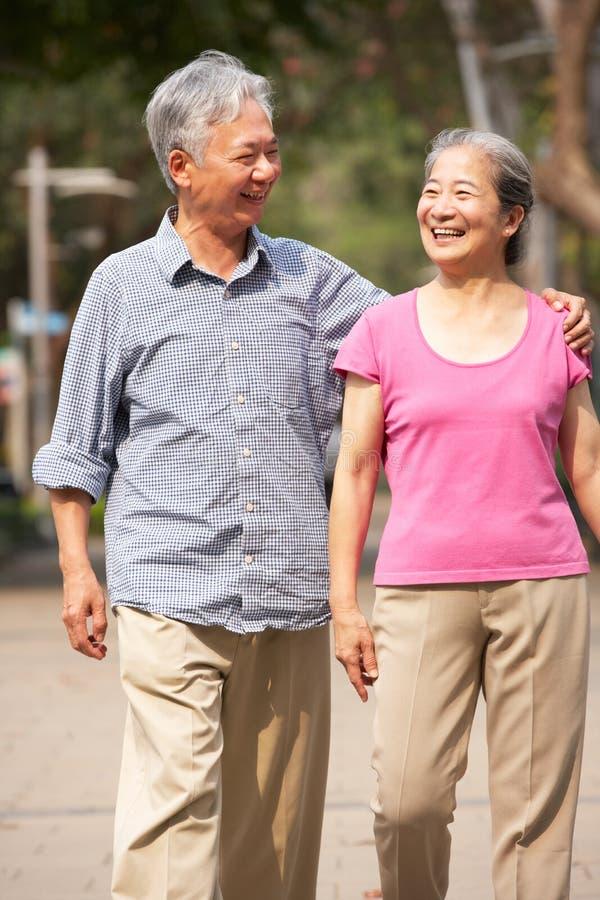 Ανώτερο κινεζικό ζεύγος που περπατά στο πάρκο στοκ εικόνες με δικαίωμα ελεύθερης χρήσης