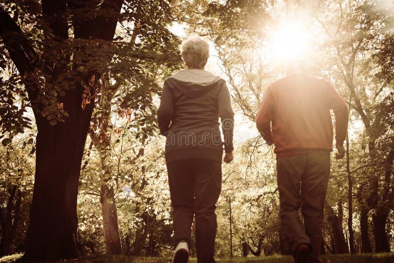 Ανώτερο πάρκο γουρνών γυναικών και ανδρών jogging από κοινού Από το β στοκ φωτογραφίες με δικαίωμα ελεύθερης χρήσης