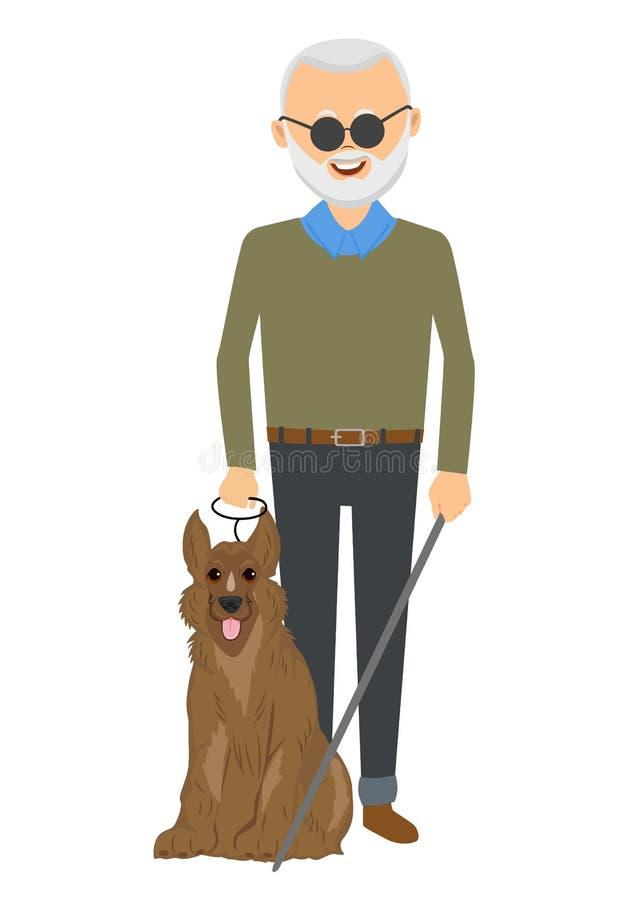Ανώτερο τυφλό άτομο που στέκεται με το σκυλί οδηγών διανυσματική απεικόνιση